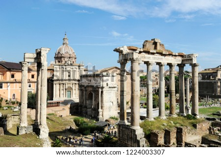 Roman Forum in Rome, Italy, It is one of the main tourist attractions of Rome. Panorama of the famous Roman Forum or Foro Romano in a sunny day. Ancient architecture and cityscape of historical Rome