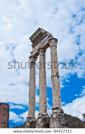 Roman Forum One of the most famous landmarks in the world located at Rome, Italy.