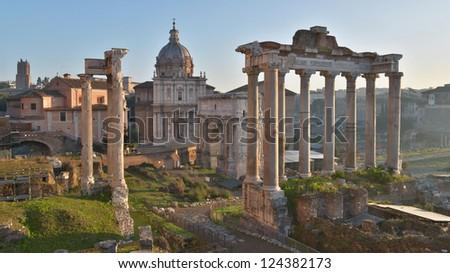 Roman Forum, or Forum Romanum, as seen from the Capitolium hill