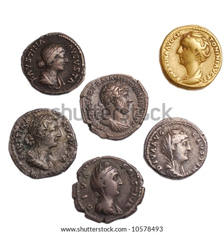 roman gold and silver coins isolated on white