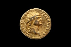 Roman gold aureus replica coin obverse of Roman Emperor Domitian AD 81-96  cut out and isolated on a black background stock photo Image