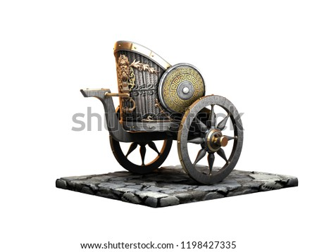 Roman / Greek chariot 3D rendering isolated