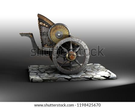 Roman / Greek chariot 3D rendering side view