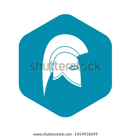 Roman helmet icon in simple style isolated on white background. Protective headgear symbol