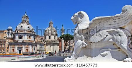 Roman landmarks, Piazza Venezia - stock photo