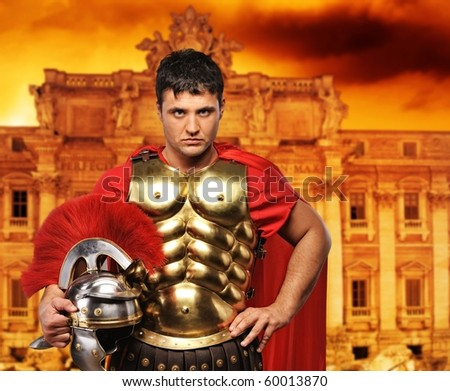 Roman legionary soldier in front of Trevi fountain
