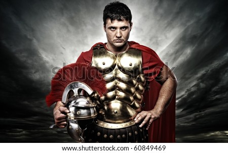 Roman legionary soldier over stormy sky
