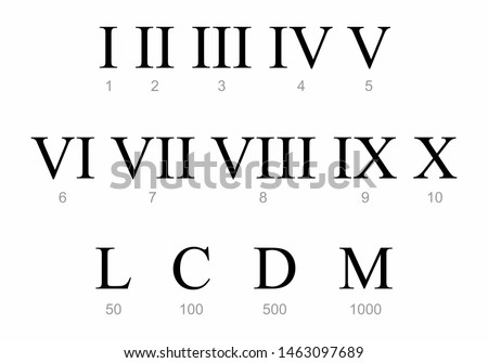 Roman numbers set on the white background Stock photo ©