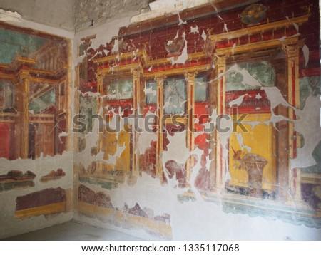 Roman painted fresco wall Italy