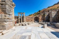 Roman pillars in the ruins of Ephesus, Selcuk, Izmir, Turkey
