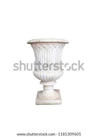 Roman pots, white pots, cement pots, white Roman pots isolated on white background.