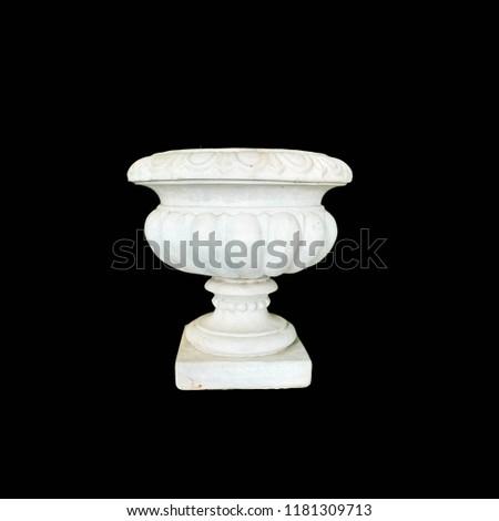 Roman pots, white pots, cement pots, white Roman pots on a black background. #1181309713