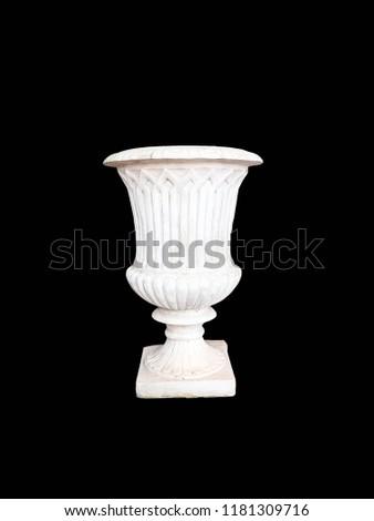 Roman pots, white pots, cement pots, white Roman pots on a black background. #1181309716