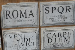 Roman replica plaques, souvenir for tourists