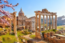 Roman ruins in Rome at spring, Italy