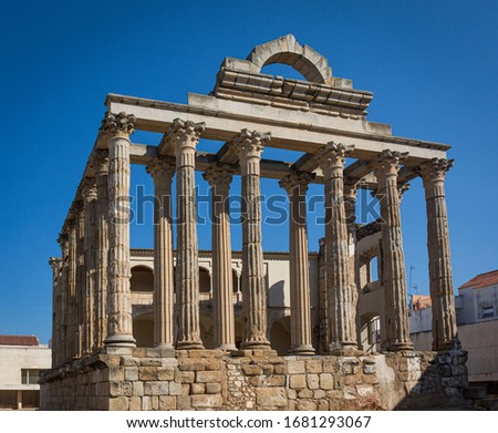 Roman ruins of the Temple of Diana in the city of Merida in the province of Badajoz, Spain.