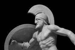 Roman statue of warrior in helmet