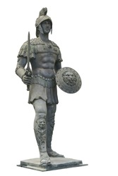 Roman statue solder doll isolated on white background. This has clipping path.