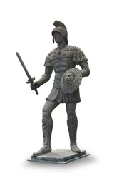 Roman statue solder isolated on white background. This has clipping path.