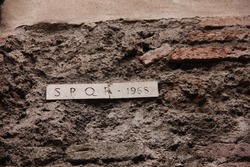 Roman symbol sign SPQR on the wall