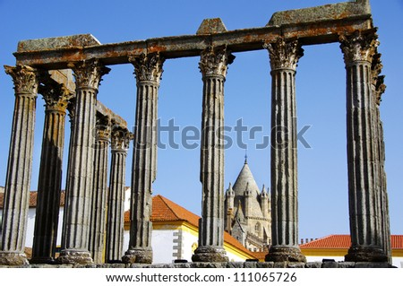 Roman temple at Portugal. Unesco World heritage.
