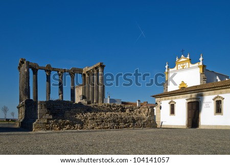 Roman temple in the old city of Evora, Portugal