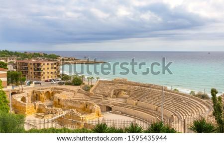Roman Theater in Tarragona (Amfiteatre de Tarragona). Costa Dorada. Catalonia. Spain. Zdjęcia stock ©