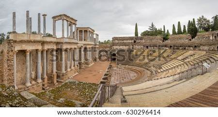Roman Theatre in Mérida. Located in the archaeological ensemble of Mérida, one of the largest and most extensive archaeological sites in Spain. It was declared a World Heritage Site by UNESCO in 1993. #630296414
