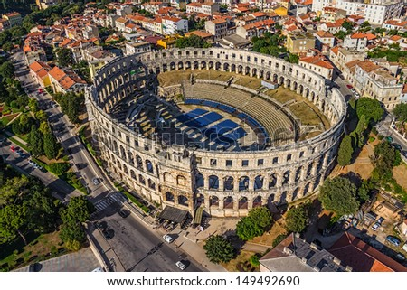 Roman time arena in Pula, detail, Croatia. UNESCO world heritage site. - Shutterstock ID 149492690