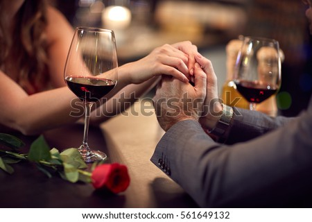 Stock Photo Romance at night restaurant for Valentine's Day- concept