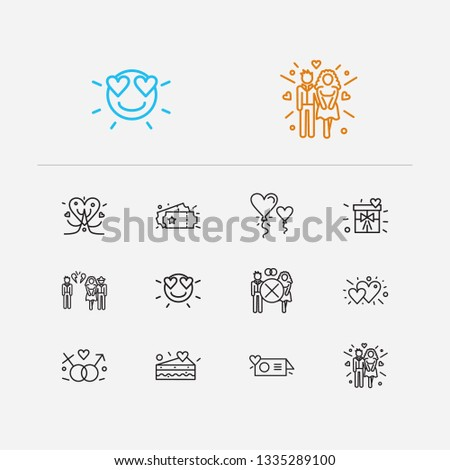 Romance icons set. Gender sign and romance icons with hearts, betrayal and couple. Set of entry for web app logo UI design.