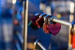 Romance Love padlocks or love locks on a bridge in the harbor of hamburg on blurred sunlight background , love, paris, locks, lock, symbol, heart, white, romance, lifelong, padlock, red