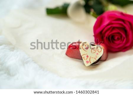 romance rose candy kiss. selective focus