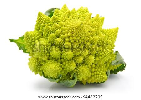 Romanesco broccoli cabbage (or Roman Cauliflower) isolated on white background
