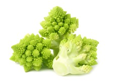 Romanesco broccoli isolated on white background. Roman cauliflower.