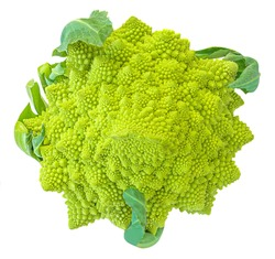 Romanesco broccoli or Roman cauliflower isolated on white background. Vegan Food concept. Top view