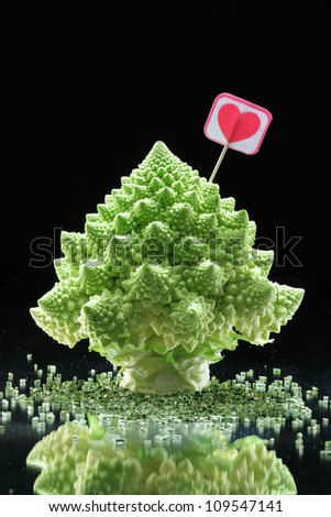 Romanesco cabbage on black background/ Christmas still life