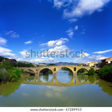 Romanesque bridge At Puente la Reina, Spain, UNESCO - the Pilgrim's Road to Santiago de Compostela