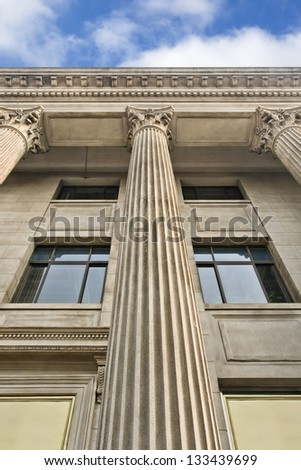 Romanesque building with ornamental pillars