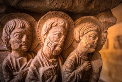 Romanesque Capital in Cloisters Church of Saint Trophime Cathedral in Arles. Provence, France