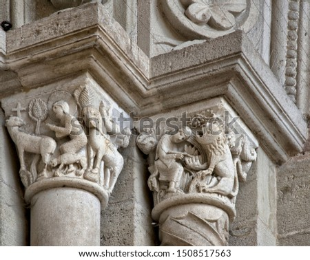 Romanesque capitals in the cathedral Saint-Lazare of Autun, France #1508517563