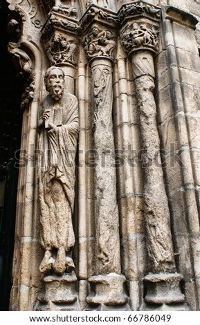 Romanesque sculptures of Ourense cathedral, north of Spain
