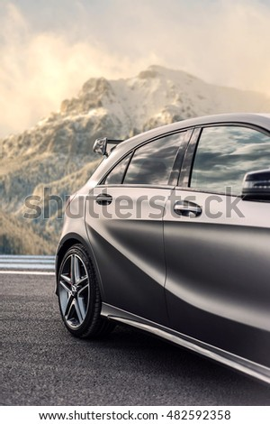 Romania, Brasov Sept 16, 2014 : Mercedes-Benz A 45 2014 AMG test drive on Sept 16 2014 in Romania. #482592358