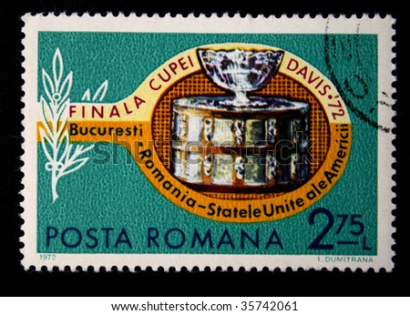 ROMANIA - CIRCA 1972: A stamp printed in Romania for the Cup-final Davis on tennis between Romania and the USA, circa 1972.