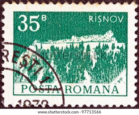 "ROMANIA - CIRCA 1974: A stamp printed in Romania from the ""Buildings"" issue shows the Citadel, Risnov, circa 1974."