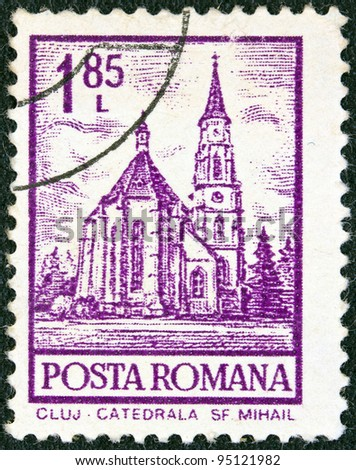"""ROMANIA - CIRCA 1972: A stamp printed in Romania from the """"Definitives I - Buildings"""" shows St. Mihail Cathedral, Cluj, circa 1972."""