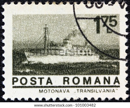 "ROMANIA - CIRCA 1974: A stamp printed in Romania from the ""ships"" issue shows liner ""Transylvania"", circa 1974."