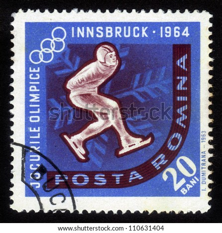 ROMANIA - CIRCA 1963: A stamp printed in Romania shows a competition of skaters on a Olympic Games in Innsbruck, Austria, circa 1963