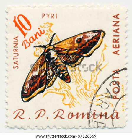 ROMANIA - CIRCA 1960: A stamp printed in Romania, shows butterfly Saturina Pyri, series, circa 1960