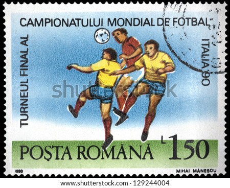 """ROMANIA - CIRCA 1990: A stamp printed in Romania, shows football players, with inscription and name of series """"World Cup Soccer Championships in Italy, 1990"""", circa 1990"""
